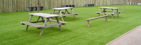 school lunch benched on new artificial grass