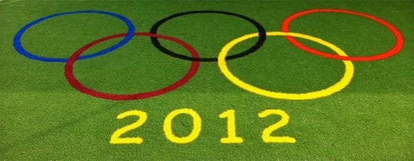 2012 Olympic rings logo in synthetic surface