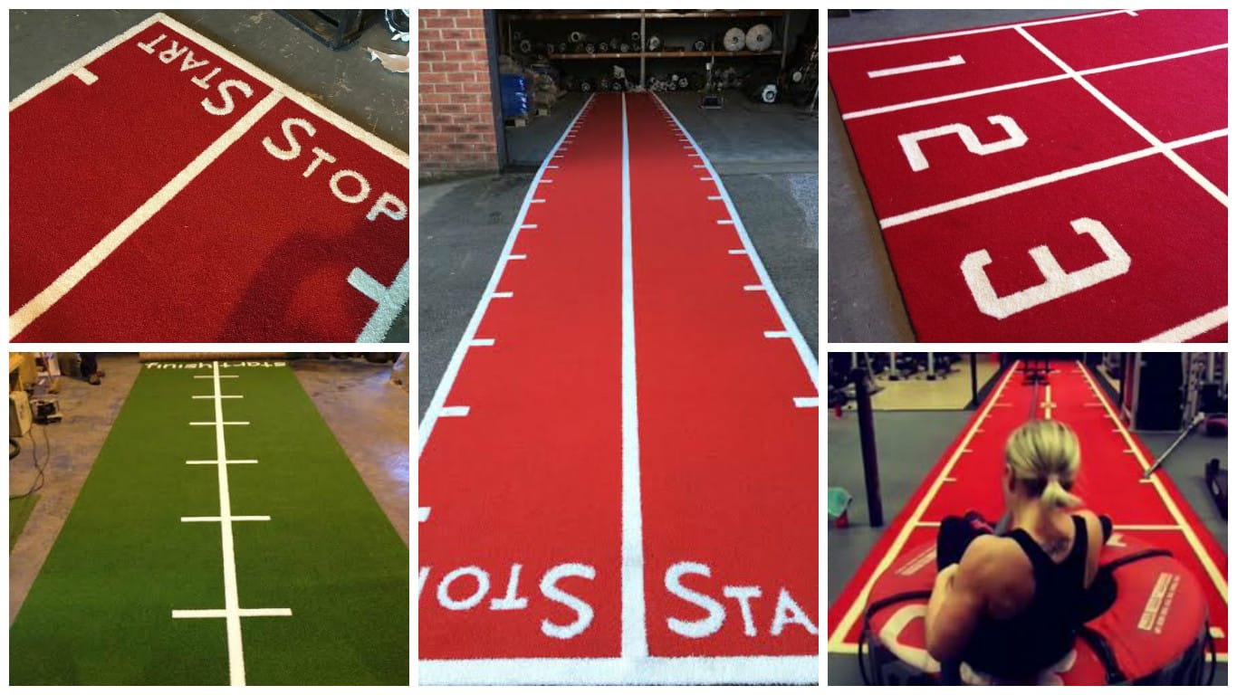 collage of five different artificial turf gym mat images