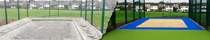 artificial grass long jump pit with blue surround