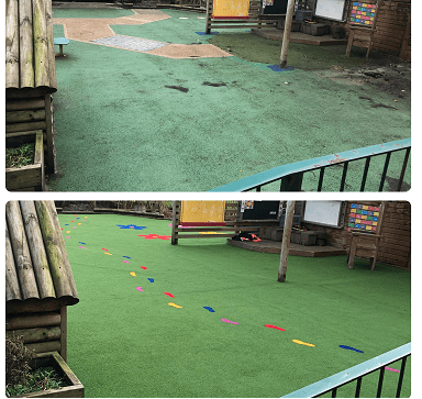 before wet pour rubber and after artificial turf