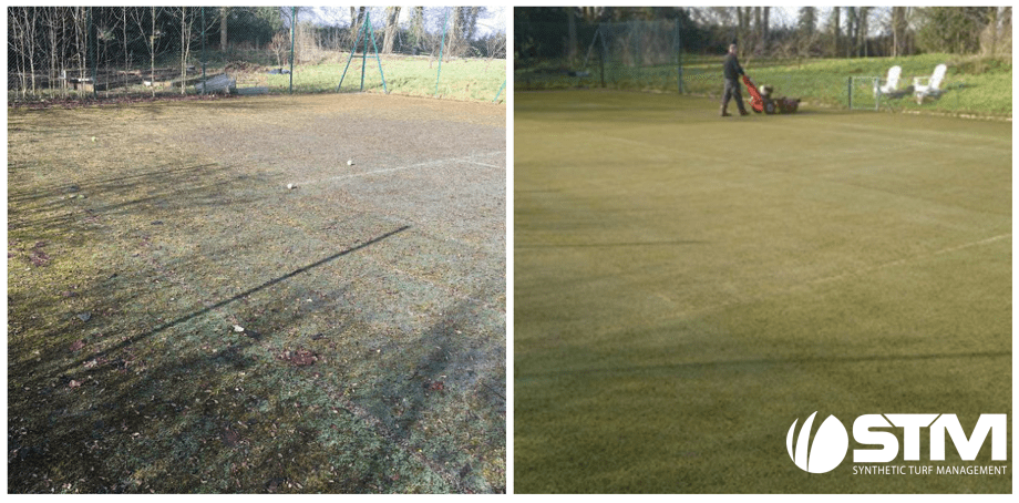 before and after a tennis court maintenance- considerable difference
