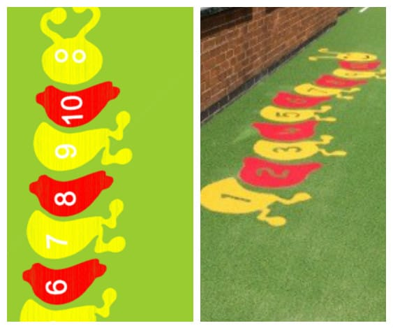 caterpillar in red and yellow turf design
