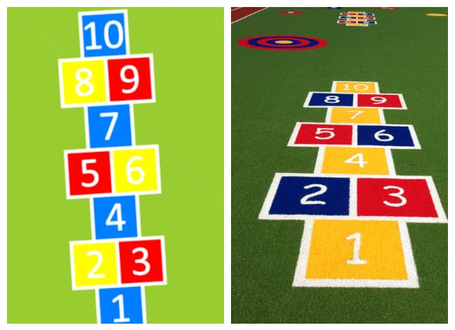 Hopscotch designed with cad and made with turf