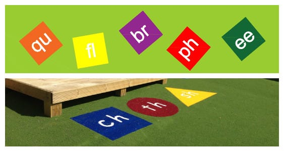phonics tiles as part of playground