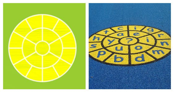 circle yellow word jump design for playground