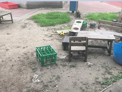Muddy area in school with equipment