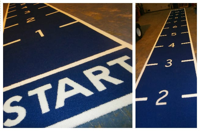 blue and white one lane prowler track with start and finish line