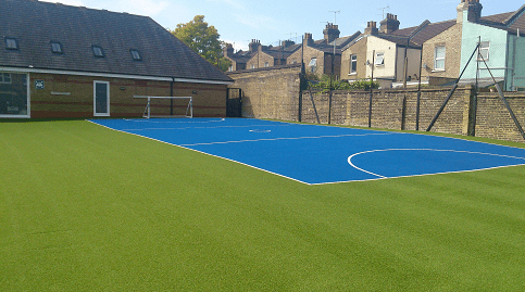 blue artificial turf muga