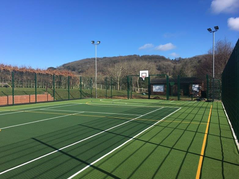 green muga with new fencing and floodlights