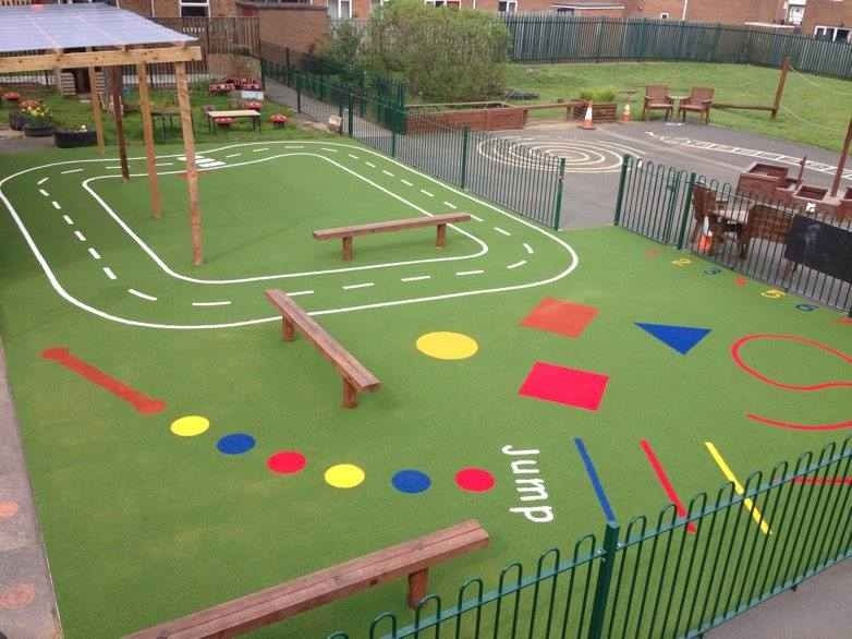 aerial view of school playground with roadway, shapes and number line