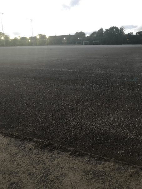 uplift of the hockey pitch showing base