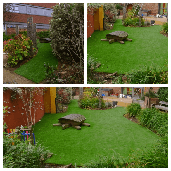 Hospital safe play area with artificial turf