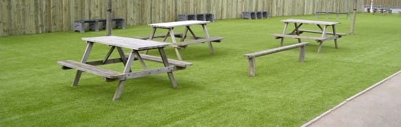 school picnic area with artificial grass surfacing