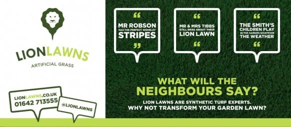Lion Lawns landscape advert headed 'What will the neighbours say?'