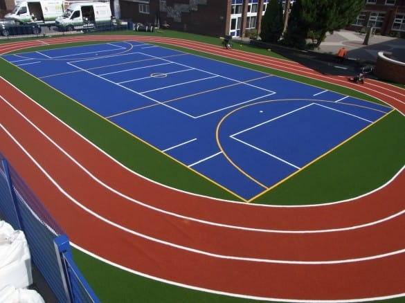 Drone view of artificial turf sport surface for athletics