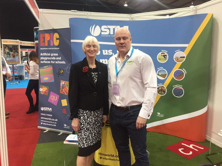 Baroness Sue Campbell and Jon Bell from Synthetic Turf Management