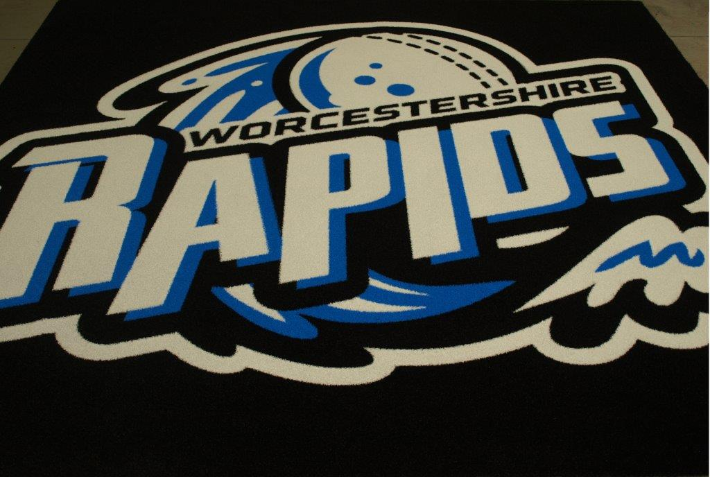 Worcestershire rapids blue, black and white logo mat