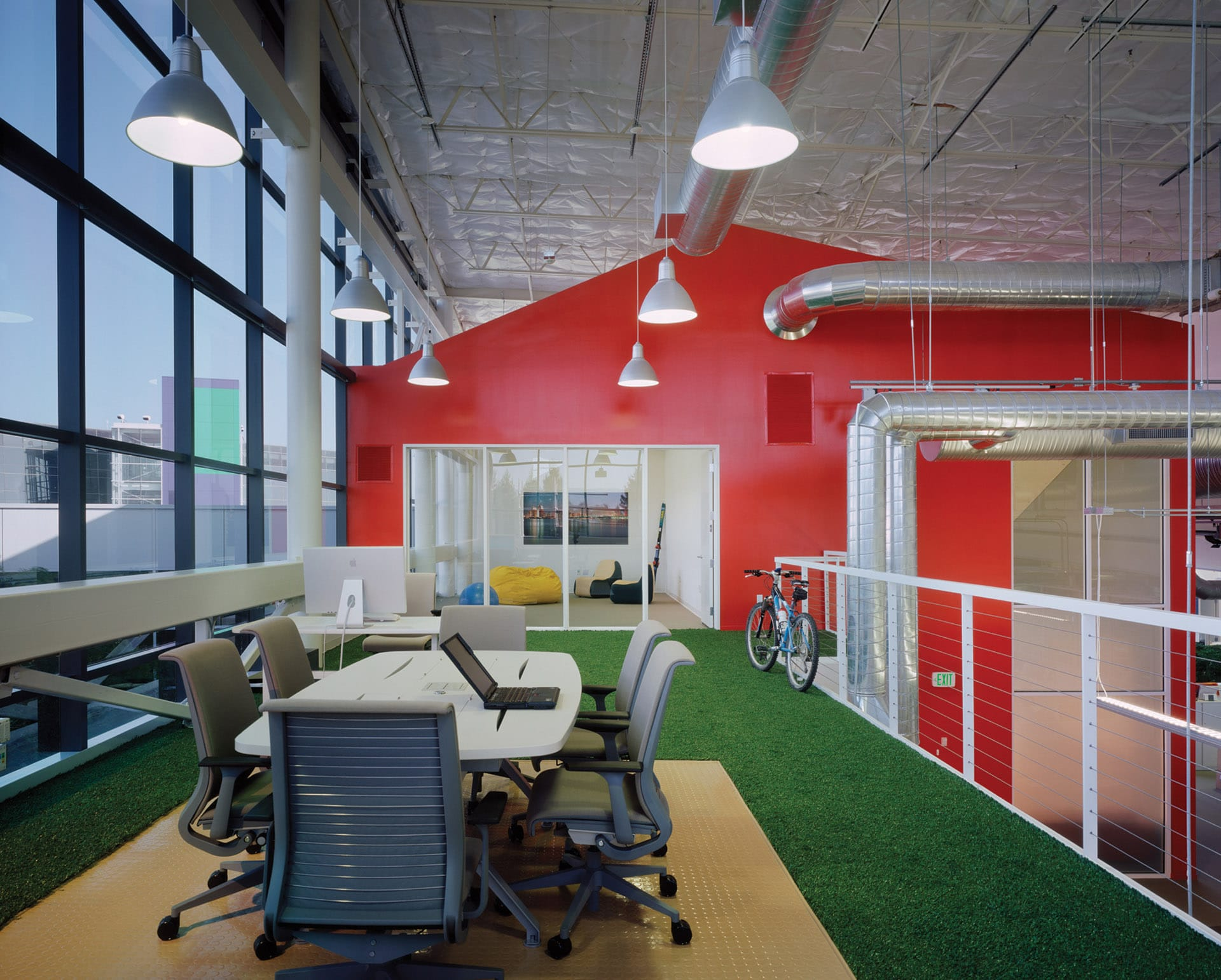 Inside google headquarters with artificial grass flooring