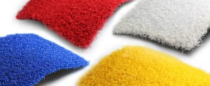 red, blue, yellow and white artificial turf play samples