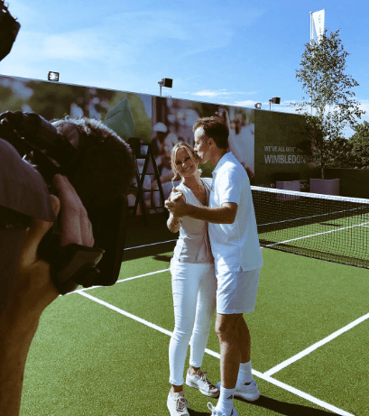 Sky news reporter dancing with Anton Du Beke at Wimbledon on our tennis court install